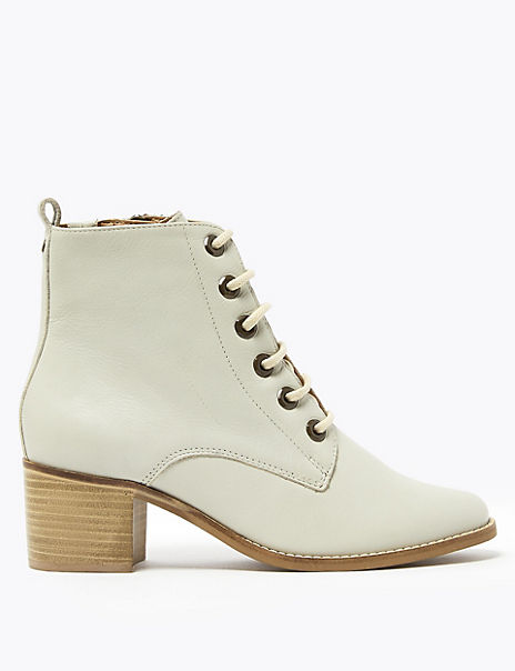 Leather Block Heel Lace Up Ankle Boots