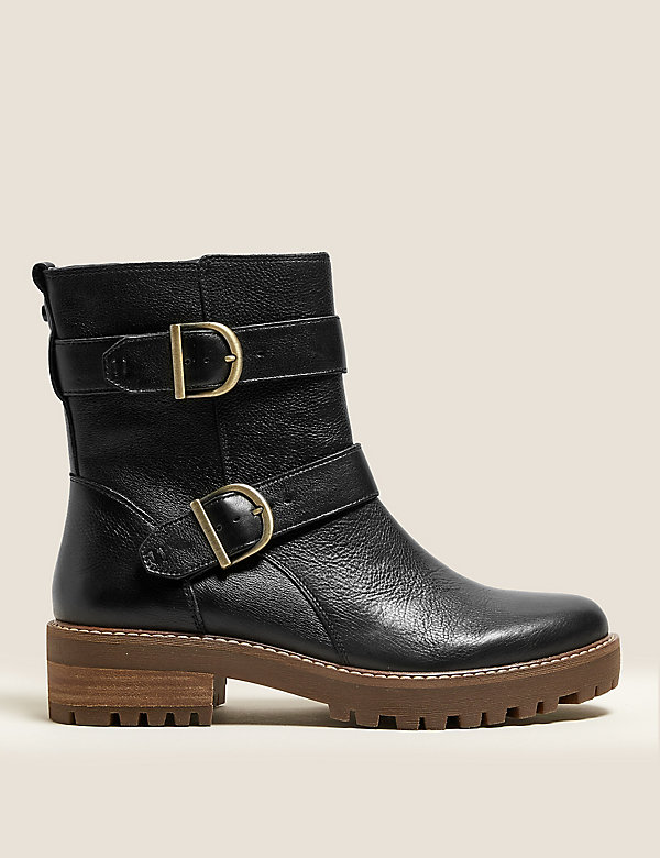 Leather Biker Buckle Ankle Boots
