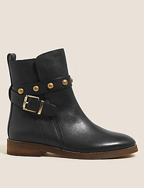 Leather Chelsea Buckle Flatform Ankle Boots