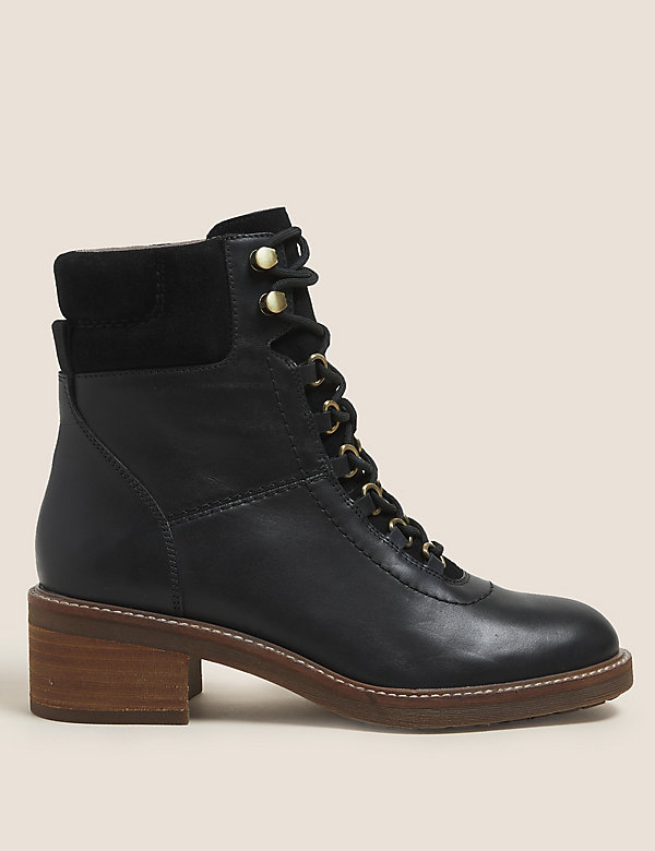 Leather Hiker Lace Up Ankle Boots