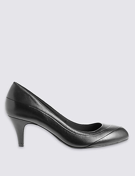 Leather Stiletto Pleated Court Shoes