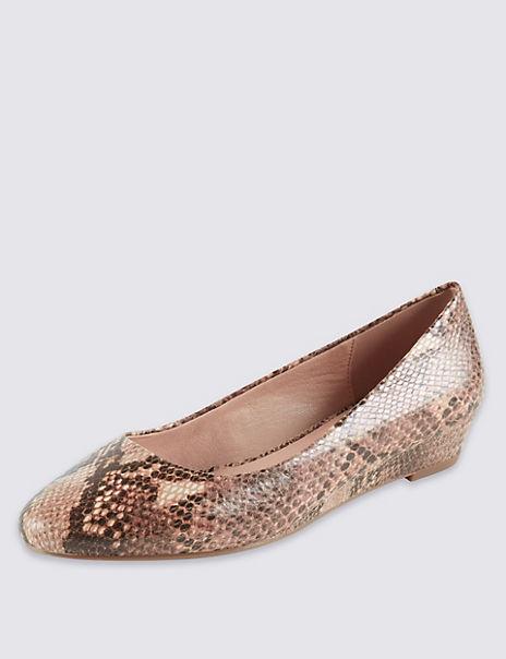 Suede Wedge Heel Court Shoes