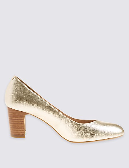 Leather Block Heel Almond Toe Court Shoes