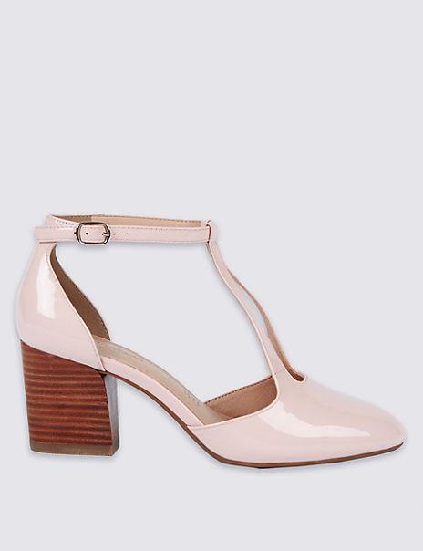 Leather Angular Heel Court Shoes