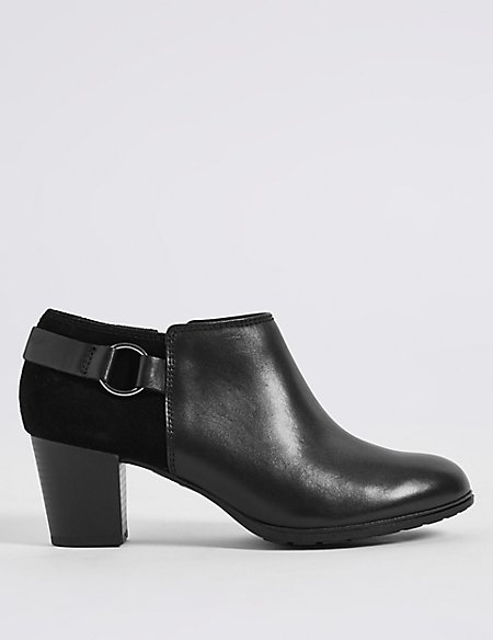 Leather Block Heel Shoe Boots