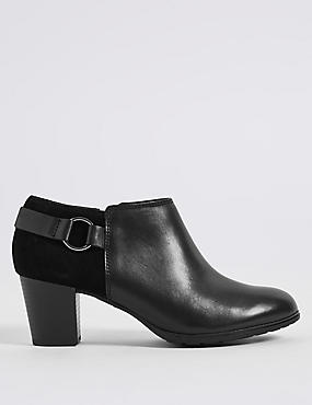 Leather Block Heel Side Zip Shoe Boots