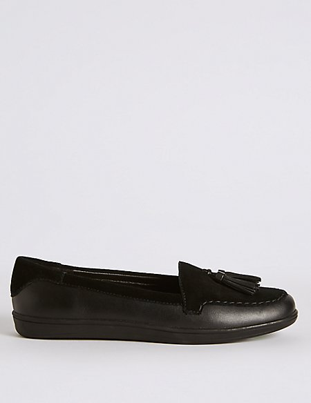 Leather Tassel Slip-on Pump Shoes