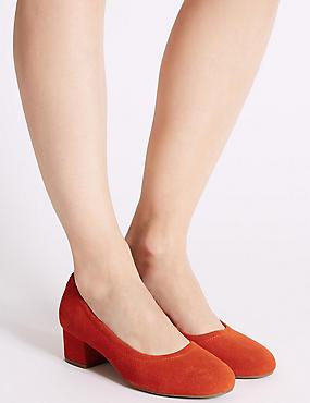Suede Block Heel Court Shoes
