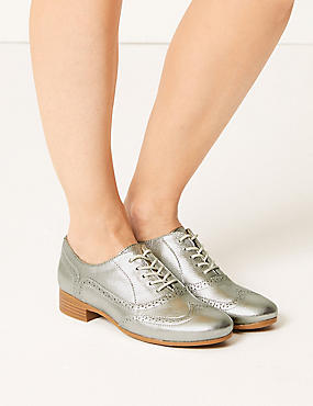 Leather Brogue Shoes, SILVER, catlanding