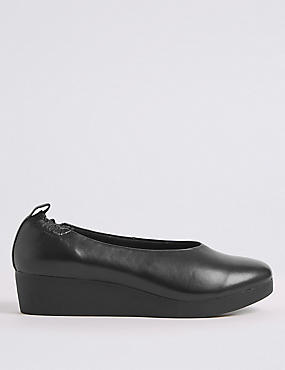 Leather Wedge Ballerina