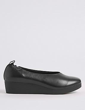 Leather Wedge Ballerina