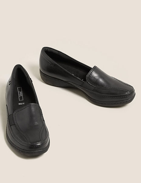 Wide Fit Leather Wedge Heel Loafers
