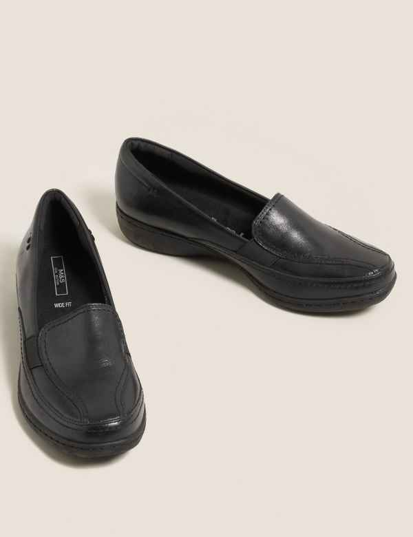 11c071346bd Wide Fit Leather Wedge Heel Loafers