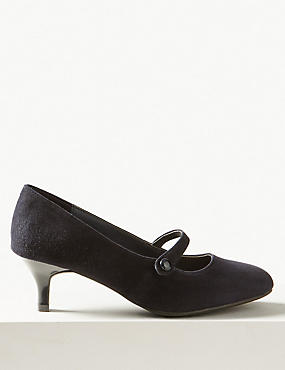 Wide Fit Suede Kitten Heel Court Shoes