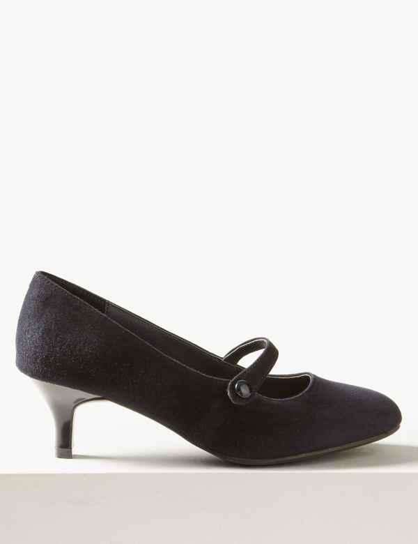 0b15b00f4 Wide Fit Suede Kitten Heel Court Shoes