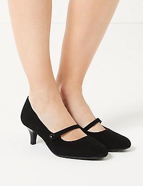 Wide Fit Suede Kitten Heel Court Shoes