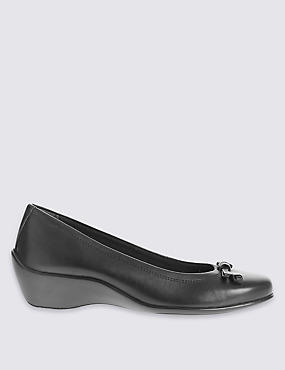 Wide Fit Leather Wedge Heel Pump Shoes