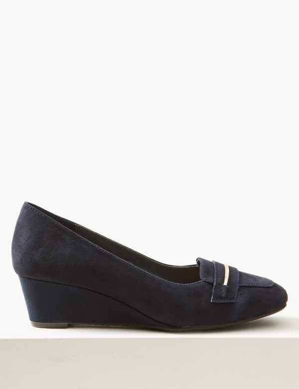 85965e2f79c2 Sparks. Wide Fit Suede Wedge Heel Court Shoes