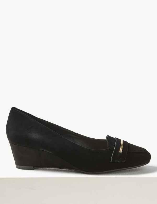 de099d00e6e2 Wide Fit Suede Wedge Heel Court Shoes