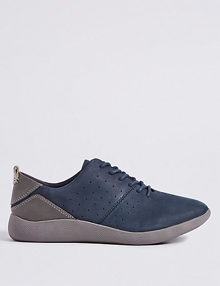 Wide Fit Suede Lace-up Trainers