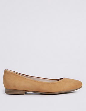 Wide Fit Leather Ballet Pumps