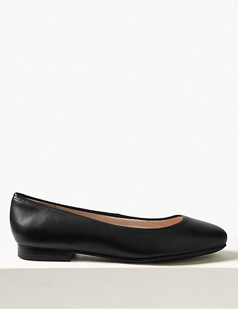 fashion style good texture fair price Wide Fit Leather Ballet Pumps