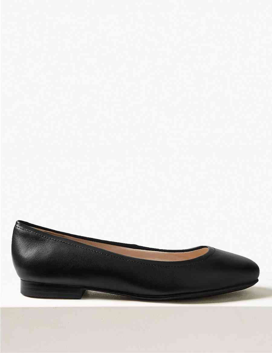 c2adeebd8f5 Wide Fit Leather Ballet Pumps