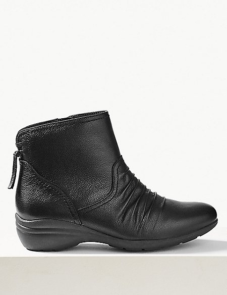 Leather Wedge Tassle Ruched Ankle Boots