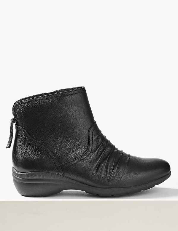 c39ca71b91b5 Leather Wedge Tassle Ruched Ankle Boots