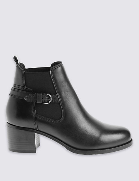 Leather Angular Ankle Boots with Footglove™