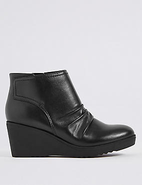 Leather Wedge Heel Side Zip Ankle Boots