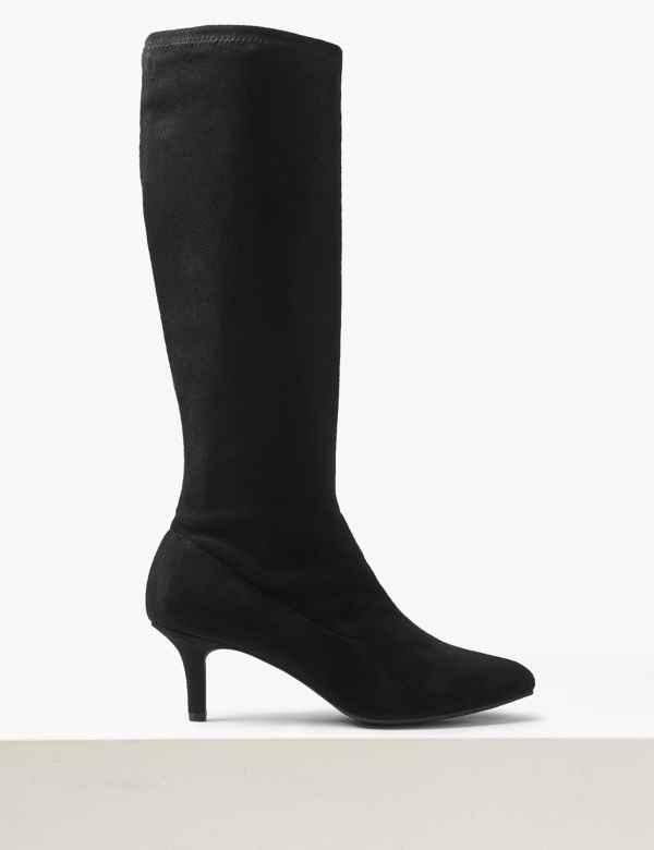 a3e1520a1a0 Kitten Heel Knee High Boots. M S Collection
