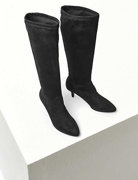 Kitten Heel Knee Boots