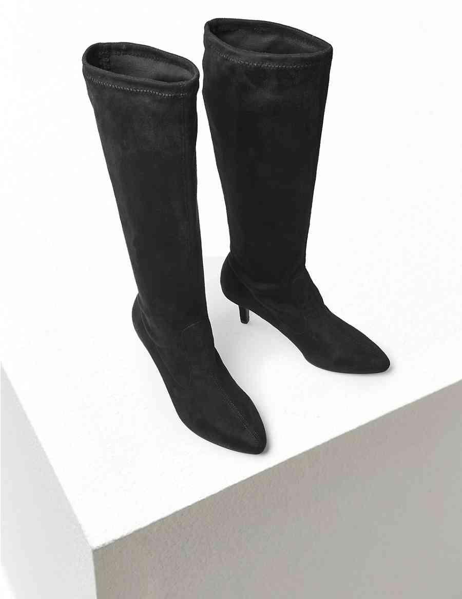 58ec600470d Kitten Heel Knee High Boots