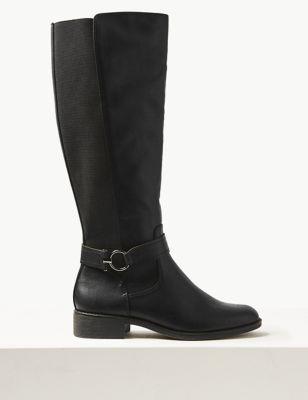 Block Heel Side Zip Knee Boots by Marks & Spencer