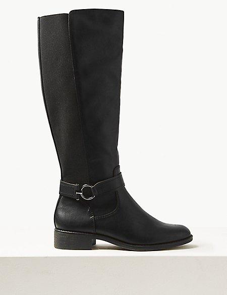 Block Heel Side Zip Knee Boots