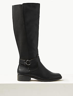 Block Heel Side Zip Knee Boots
