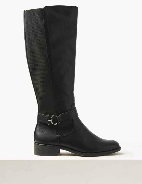 a04d757434d3 Elastic Back Rider Knee Boots