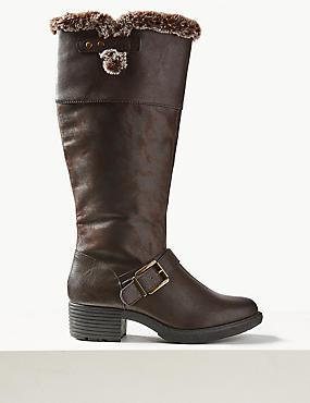 Block Heel Faux Fur Side Zip Knee Boots