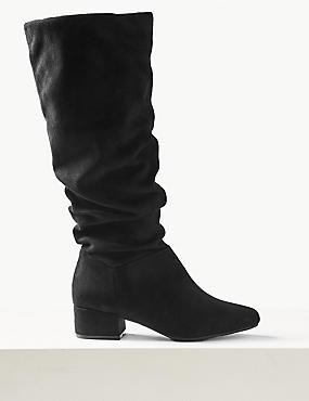 Extra Wide Fit Block Heel Knee Boots