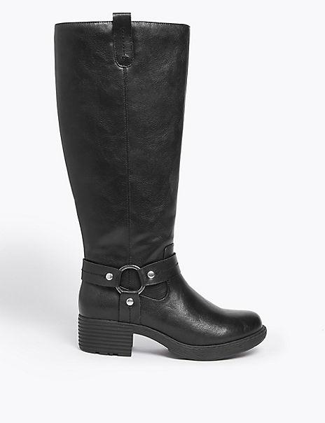 Block Heel Knee Boots