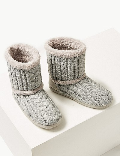 Cable Knit Slipper Boots Marks Spencer London