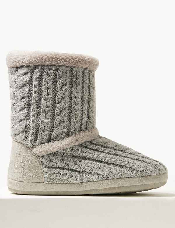 88953ef05ef39 Cable Knit Slipper Boots