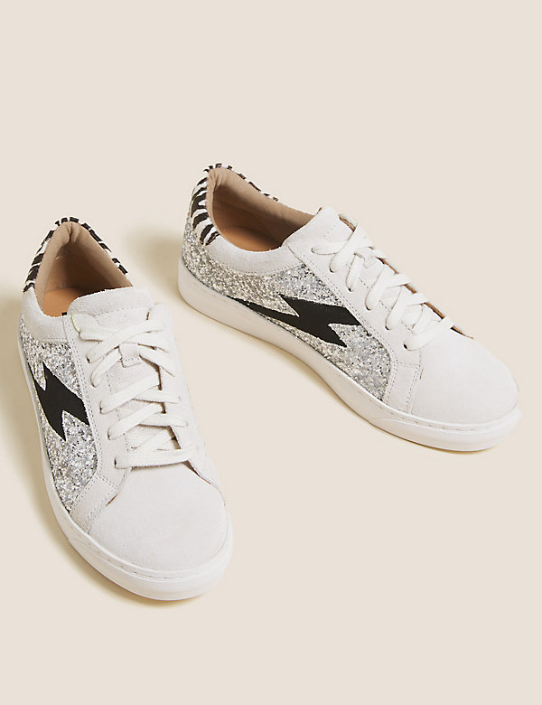 Leather Lace Up Glitter Trainers