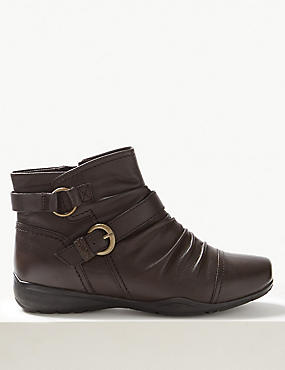 Extra Wide Fit Leather Ruched Ankle Boots