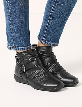 Extra Wide Fit Leather Ankle Boots