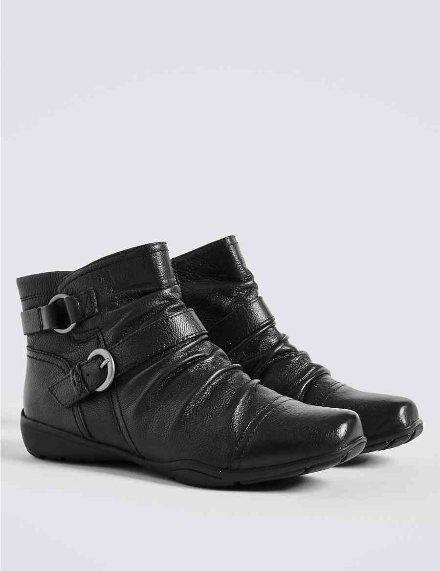 8aca9f4a815f Wide Fit Leather Wedge Ruched Ankle Boots