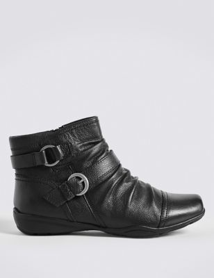 Wide Fit Leather Wedge Ruched Ankle Boots by Marks & Spencer