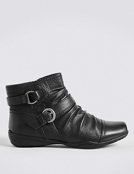 Wide Fit Leather Wedge Ruched Ankle Boots