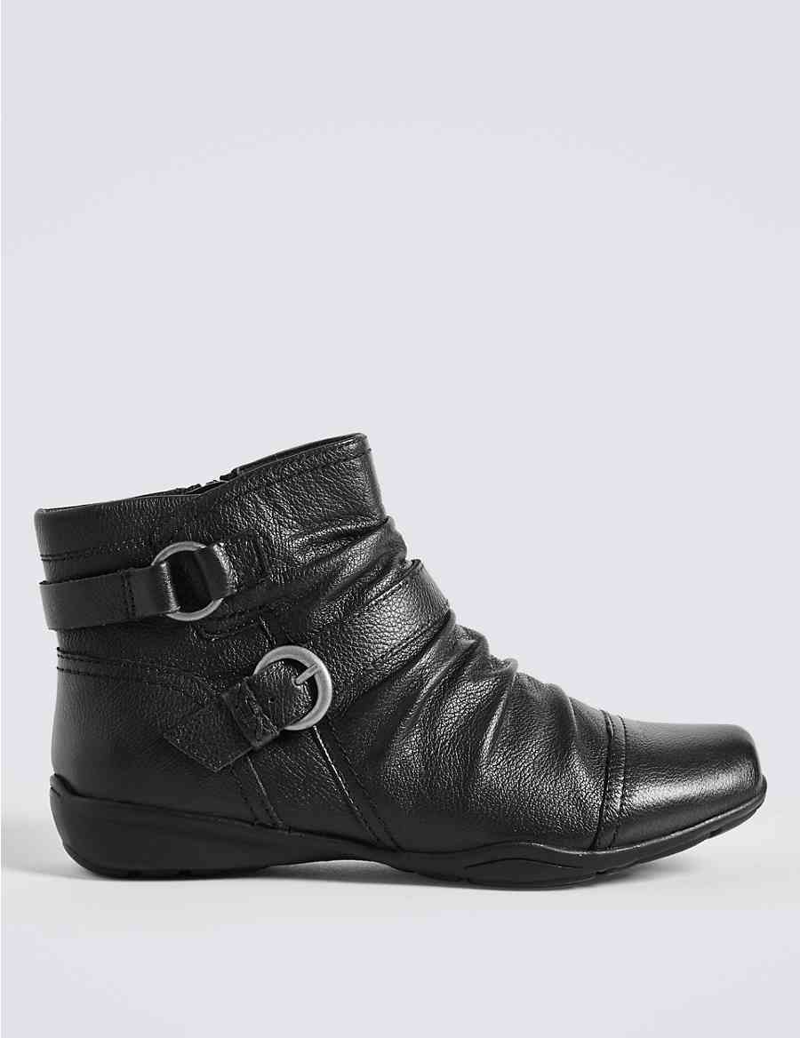 e5945bb4e5e Wide Fit Leather Wedge Ruched Ankle Boots